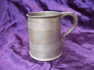 Antique 1/2 pint MAPPIN & WEBB Pewter Tankard 1st March 1914 TBC