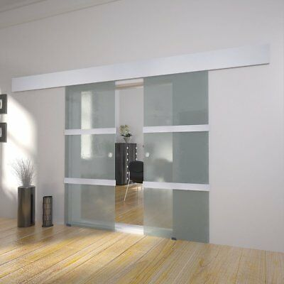 S#Double Sliding Doors Space-saving Modern Bright Translucent Glass Sturdy Home