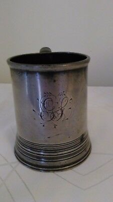 Antique Pewter Tankard 4.5inches high engraved and stamped 1889