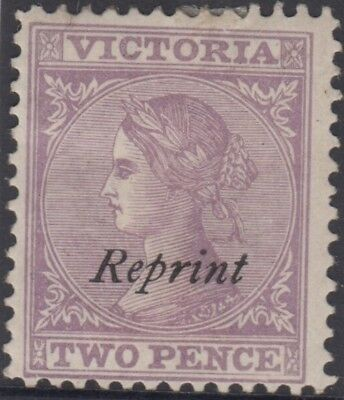 Stamp 2d violet queen sideface Victoria with REPRINT overprint, MH original gum
