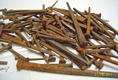 80 Plus - Orig. Assorted Size, Antique, Square Steel Nails, Old Barn Find !  #9