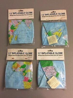 "Lot of 4 Vintage 12"" Inflatable Globes Wings Over the World New York, NY - NEW"