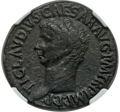 Claudius Æ As Struck 50-54 AD Rome mint 10.86gm NGC Choice VF 4/5 3/5