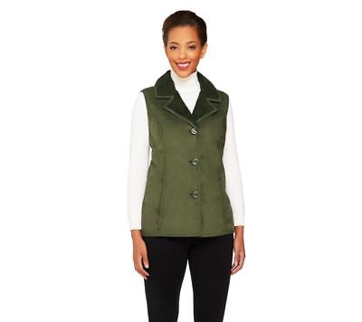 Denim & Co Faux Shearling Button Front Vest Pockets True Olive L NEW A260068