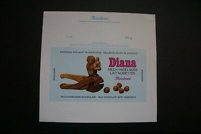 DIANA - 1970's MAESTRANI SWITZERLAND Chocolate Candy Bar Wrapper