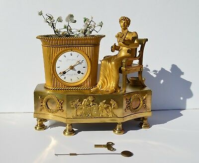 "Beautiful Antique French Gilded Bronze Mantel Clock ""young Gardener"" 1810-20"