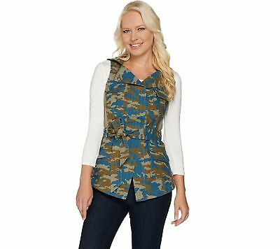 GILI Camo Printed Zip Collar Belted Vest Chest Pckts Indigo Multi 12 NEW A277119