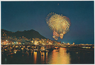Night View of Festival Fireworks over the Harbour, Hong Kong