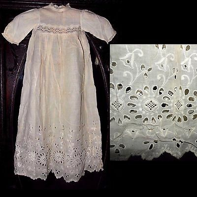 Antique 1800s Gorgeous Victorian Embroidered Primitive Dress Christening Gown