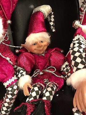 Christmas Elf 11 inches Skittles Pink Black White fd xn707100 NEW posable