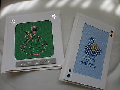 2 x Handmade Cross Stitch Birthday  Cards