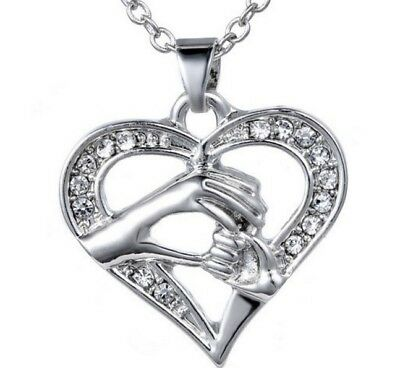 Mother Day Child Mom Baby Hand Heart Charm Love Forever Pendant Silver Gift L23