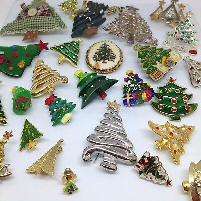 Lot of 30 Vintage CHRISTMAS TREE BROOCH PINS Enamel Rhinestone Mixed Jewelry
