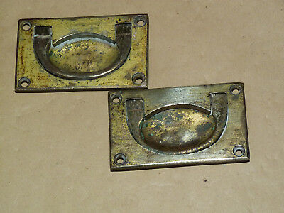 Pair Antique Brass Drawer Handles