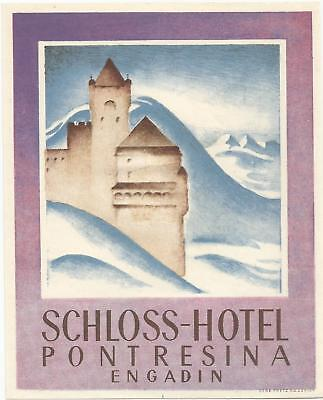 HOTEL SCHLOSS luggage SUISSE label (PONTRESINA)