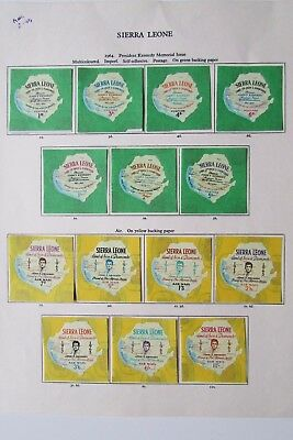 XL2681: Sierra Leone 1964 Kennedy Memorial Issues Mint Stamp Sets