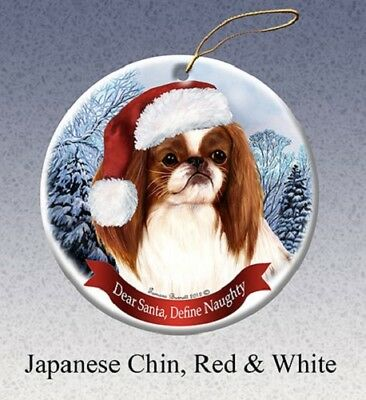 Define Naughty Ornament - Red & White Japanese Chin