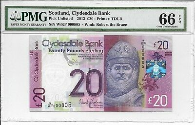 Scotland, Clydesdale Bank - 20 pounds, 2013. PMG 66EPQ.