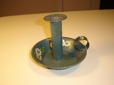 Vintage Hand Painted Flower Tin Tole Toleware Loop Candle Holder Shabby Chic