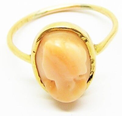 18k Gold & Coral Cameo Ring Georgian - Victorian Antique 19th century Size 5