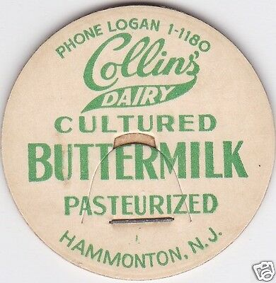 Milk Bottle Cap. Collins' Dairy. Hammonton, Nj.