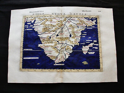 1599 PTOLEMY - AFRICAE NOVA TABULA: SOUTH AFRICA, CAPE of GOOD HOPE, MADAGASCAR