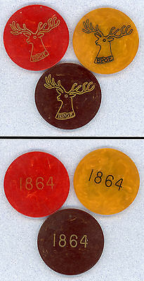 BPOE Elks Bakelite Catalin Poker Chips Lodge 1864 Southbridge MA Red Amber Black