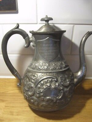 1899 silver plate coffee pot George Hadfield prize for manure makers ! Liverpool