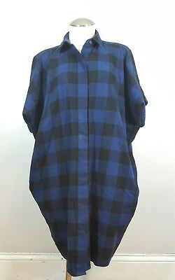 Hatch Collection Flannel Shirt Blue Maternity One Size Small B5