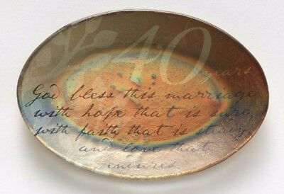 This Is The Day 40th Wedding Anniversary Copper-Gilded Glass Plate 4057359 New