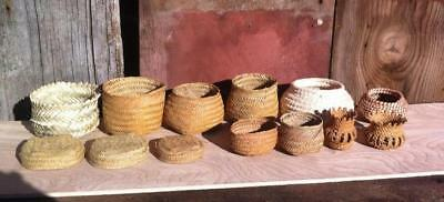 Native American Basket Lot Woven Grass Lot of 9
