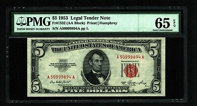 $5 1953 Red Seal Legal Tender Note PMG Gem Uncirculated 65 EPQ
