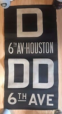 1960s New York Subway Sign Vellum Route Sign D 6TH Ave  Ave of the Americas
