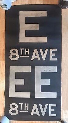 1960s New York Subway Sign Vellum Route Sign E EE   8TH Ave