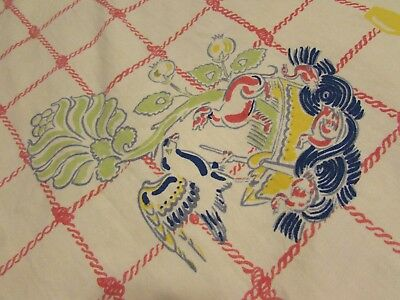"VTG 1950's NAUTICAL SEA BEACH theme tablecloth 52"" x 45"""
