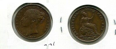 1839  Great Britain Farthing Coin Xf  3763G