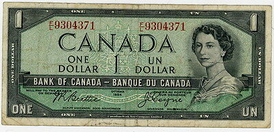 1954 Devils Face FL 9304371 Canada One Dollar Note Beattie Coyne