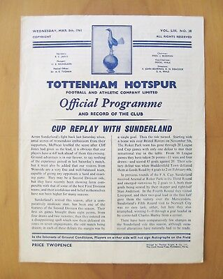 TOTTENHAM HOTSPUR v SUNDERLAND FA Cup 1960/1961 *VG Cond Programme - Double*