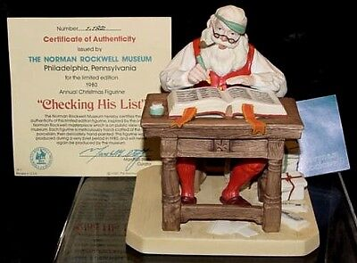 "1980  Norman Rockwell Museums ""Checking His List"" 1st Christmas Figure-NIB"
