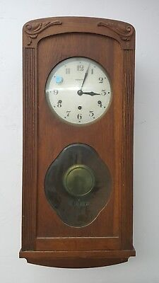 Antique VEDETTE WALL CLOCK French Walnut Wood Chimes Original Pendulum and Key