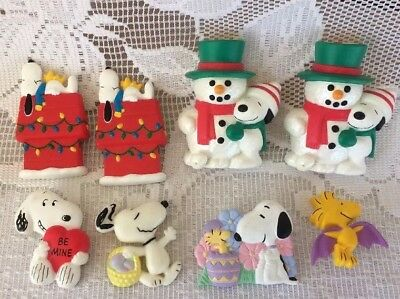 Lot Of 8 Holiday Snoopy & Woodstock Pins, On Dog House Christmas, Snowman, Bat