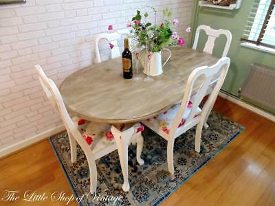 Painted Mahogany Oval Dining Kitchen Table and 4 Chairs Shabby Chic 5ft x 3ft