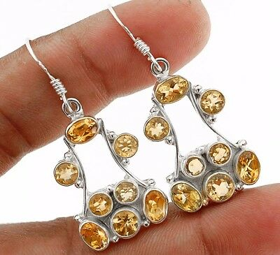 """3CT Citrine 925 Solid Sterling Silver Earrings Jewelry 1 2/3"""" Long"""