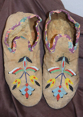 Northern Plains Crow Indian Floral Beaded Moccasins Hard Sole Native American
