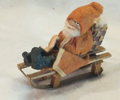 "Antique COMPOSITION FACE SANTA CLAUS FIGURE  4 "" Christmas  GERMAN  Pre War"