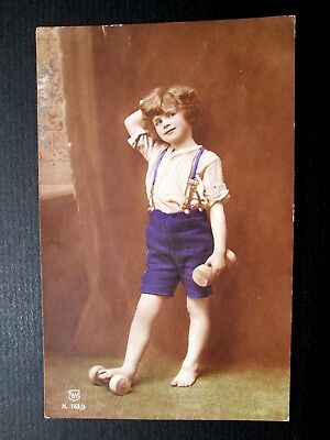 LITTLE BOY, WOODEN TOYS - W. H. SERIES No H.163/3, HAND-PAINTED REAL PHOTO 1910s