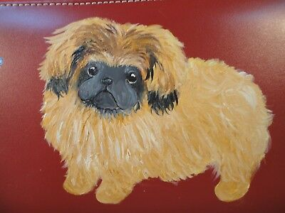 Pekingese Puppy Dog Hand Painted Gift Treasure Faux Red Leather Box