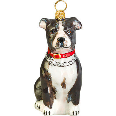 American Staffordshire Terrier Black and White Glass Polish Christmas Ornament