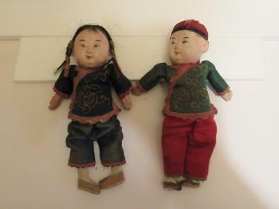 """Vtg. Chinese Dolls Boy & Girl Composition Antique 8"""" tall"""
