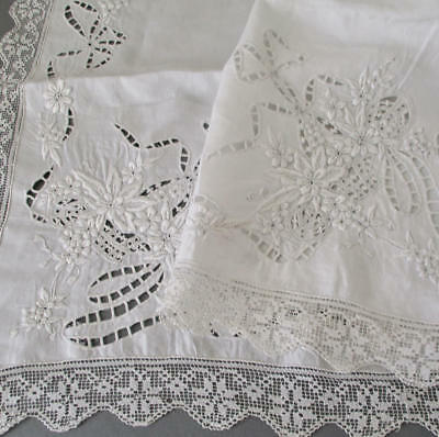 Vintage ITALIAN Hand Embroidered LINEN + LACE Topper FLOWER BASKETS + BOWS 43""